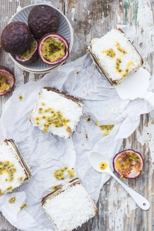 Kokos-Honigbrotwürfel und Passionsfrüchte!