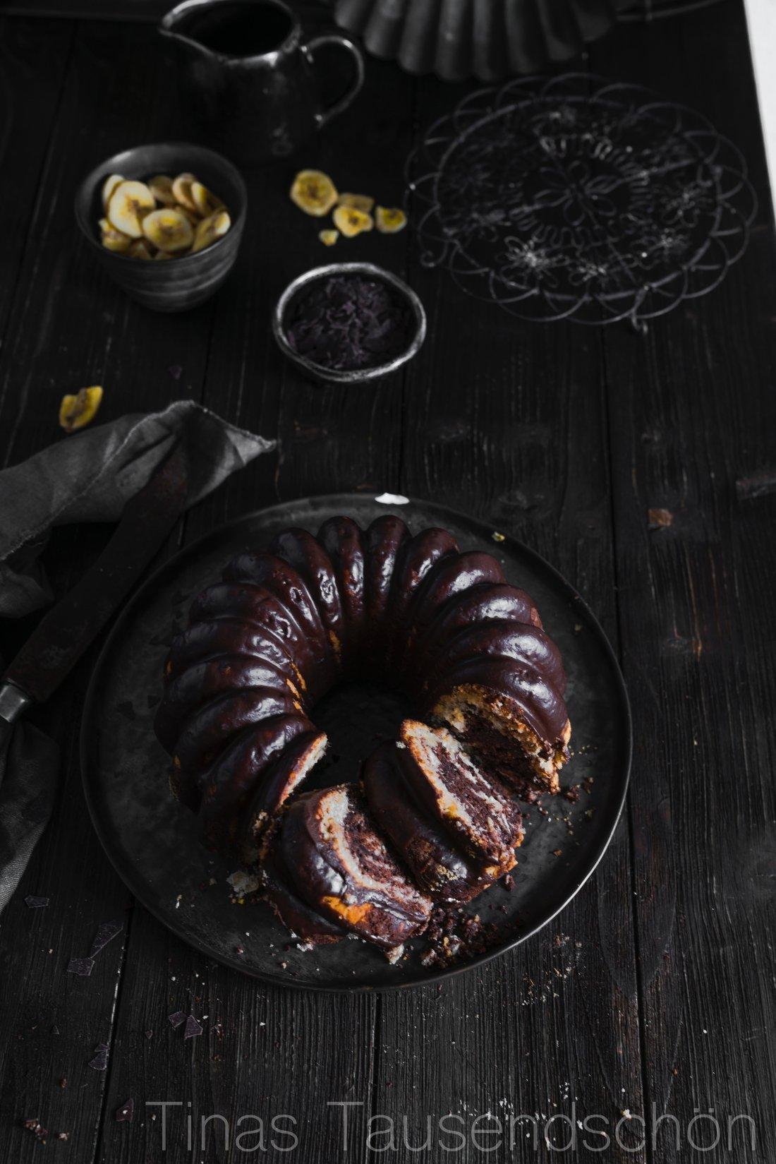 Bananen Schokoladen Marmor Kuchen