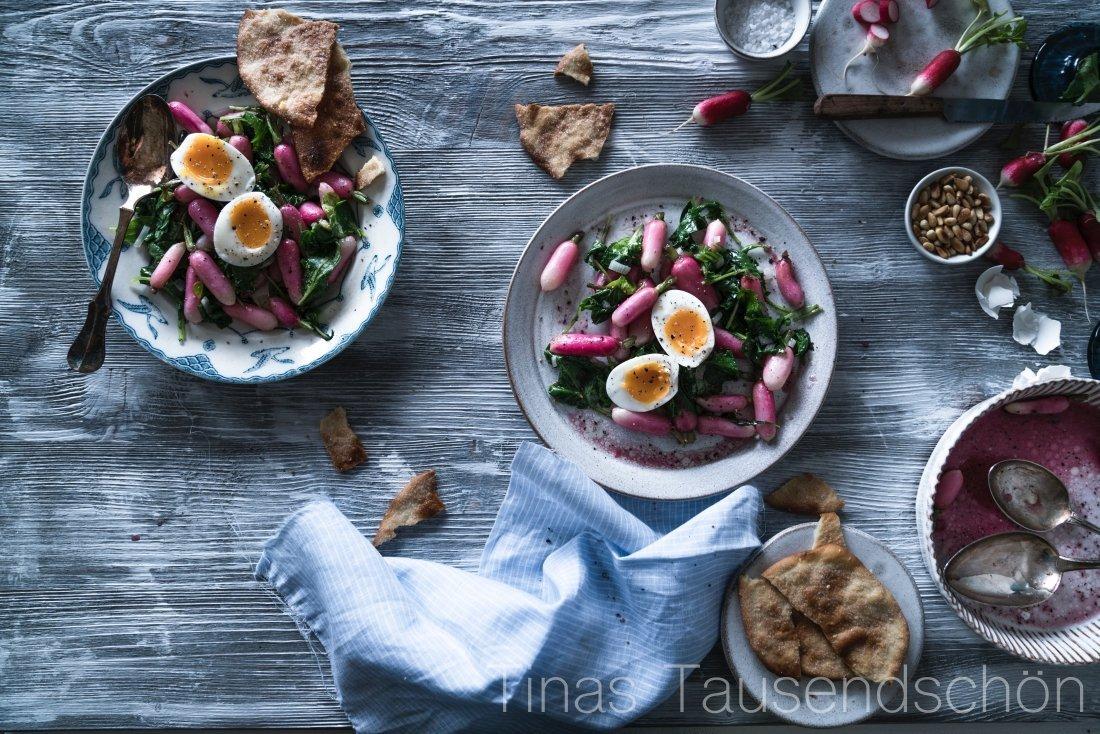 Lauwarmer Radieschen Salat mit Ei