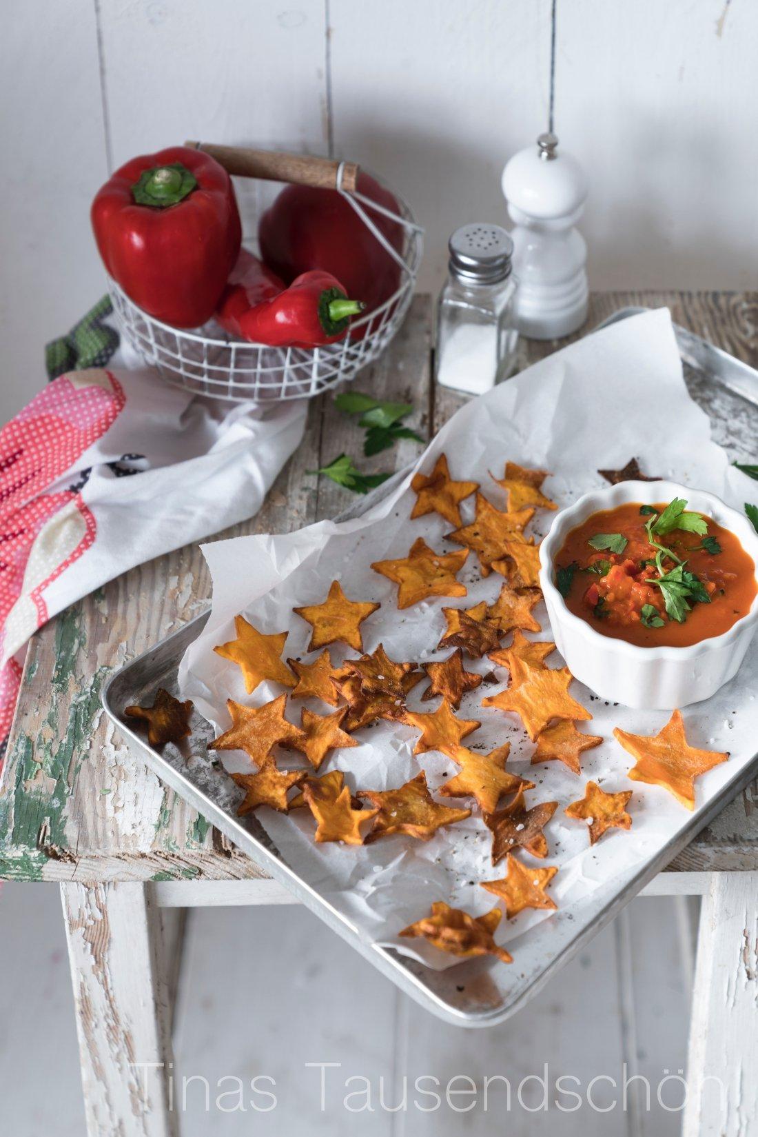 Süsskartoffel Chips mit Paprika Salsa