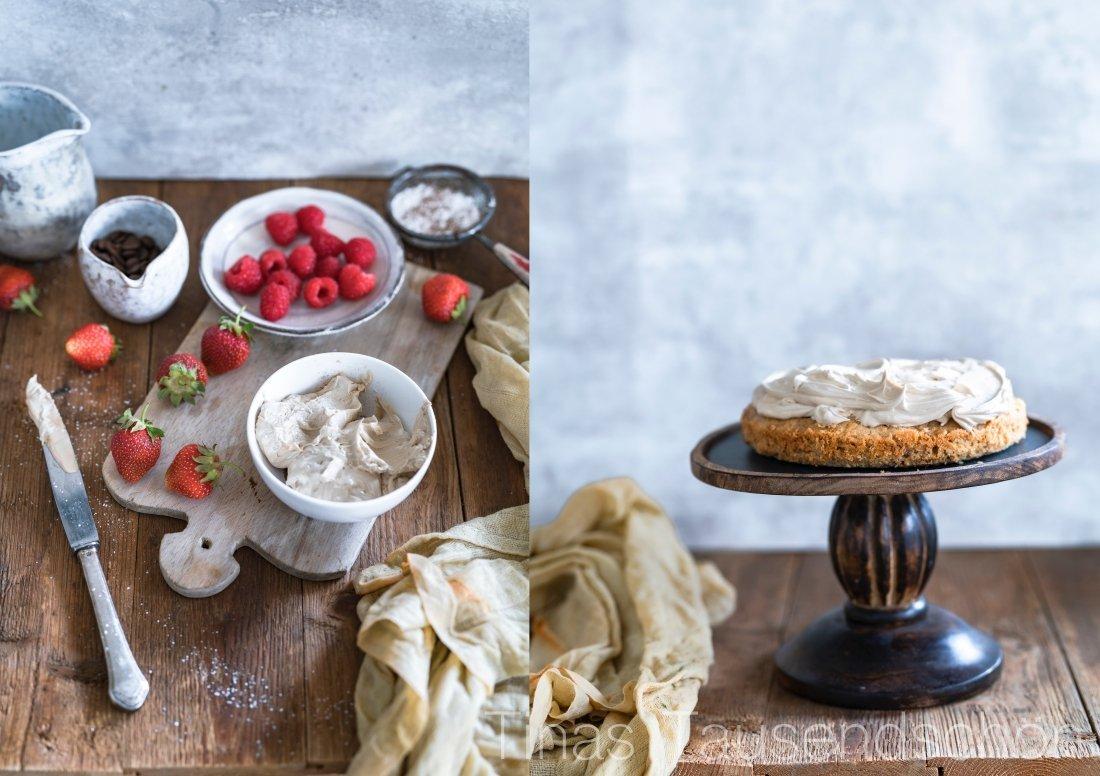 Cappuccino Torte mit Mascarpone Creme und Beeren