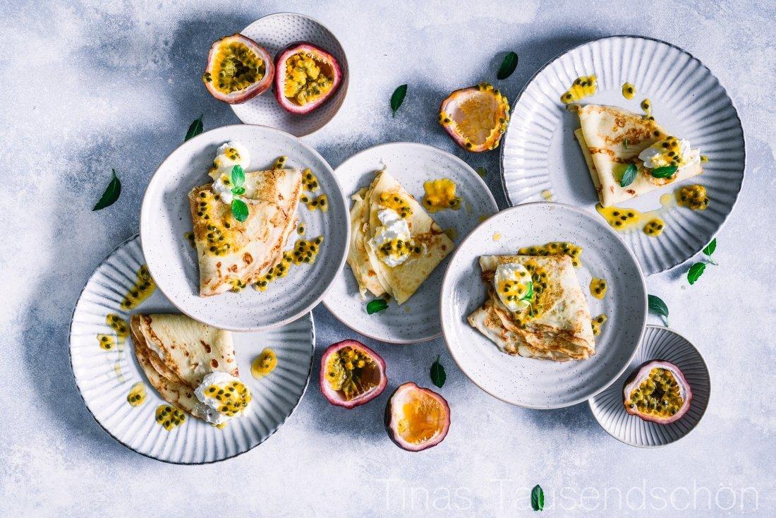 Buttermilch Pfannkuchen mit Ricotta und Passionsfrucht