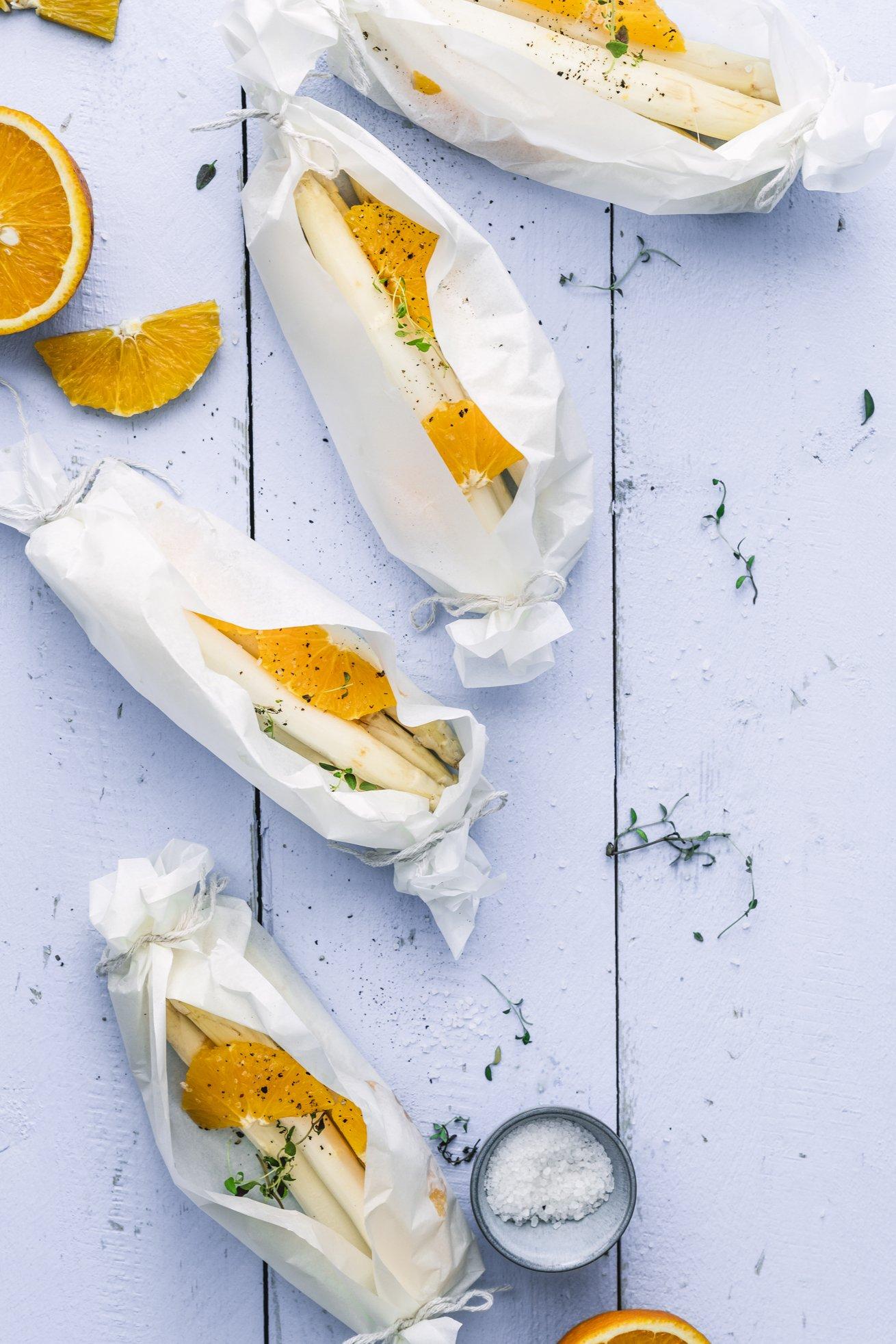 Ofenspargel mit Orangen