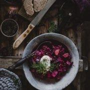 Vegetarische Linsensuppe Borschtsch