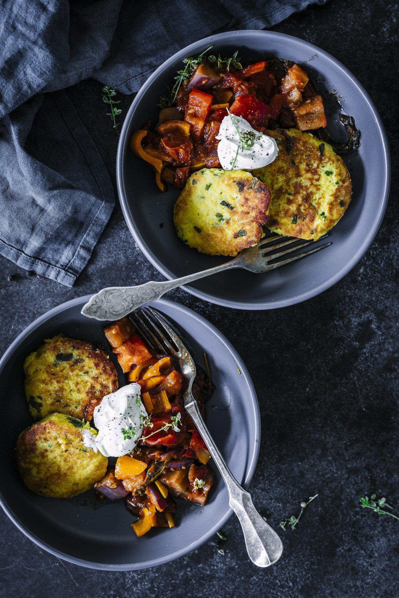 Mediterranes Ratatouille mit Kartoffelküchlein