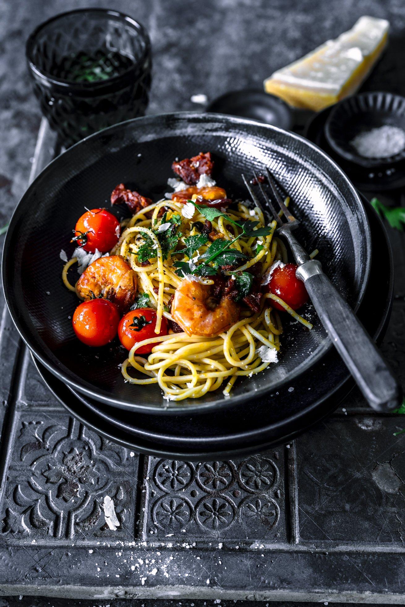 Spaghetti mit Scampi und Chorizo