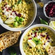 Cremiges Kichererbsen Curry mit viel Basilikum