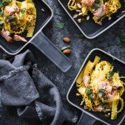 Schnelle Pasta mit Safran Sauce, Lachs und Mandeln