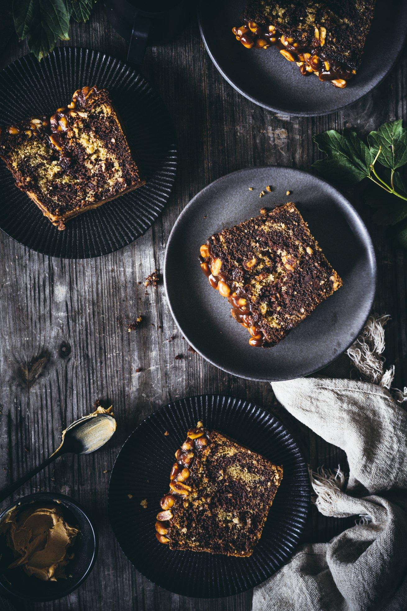 Marmorkuchen mit Erdnussbutter und Schokolade