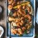 Masala Garnelen mit Pastinaken Stampf und Ofengemüse