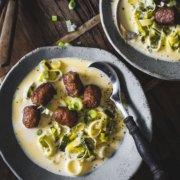 Käse Lauch Suppe mit Salsiccia