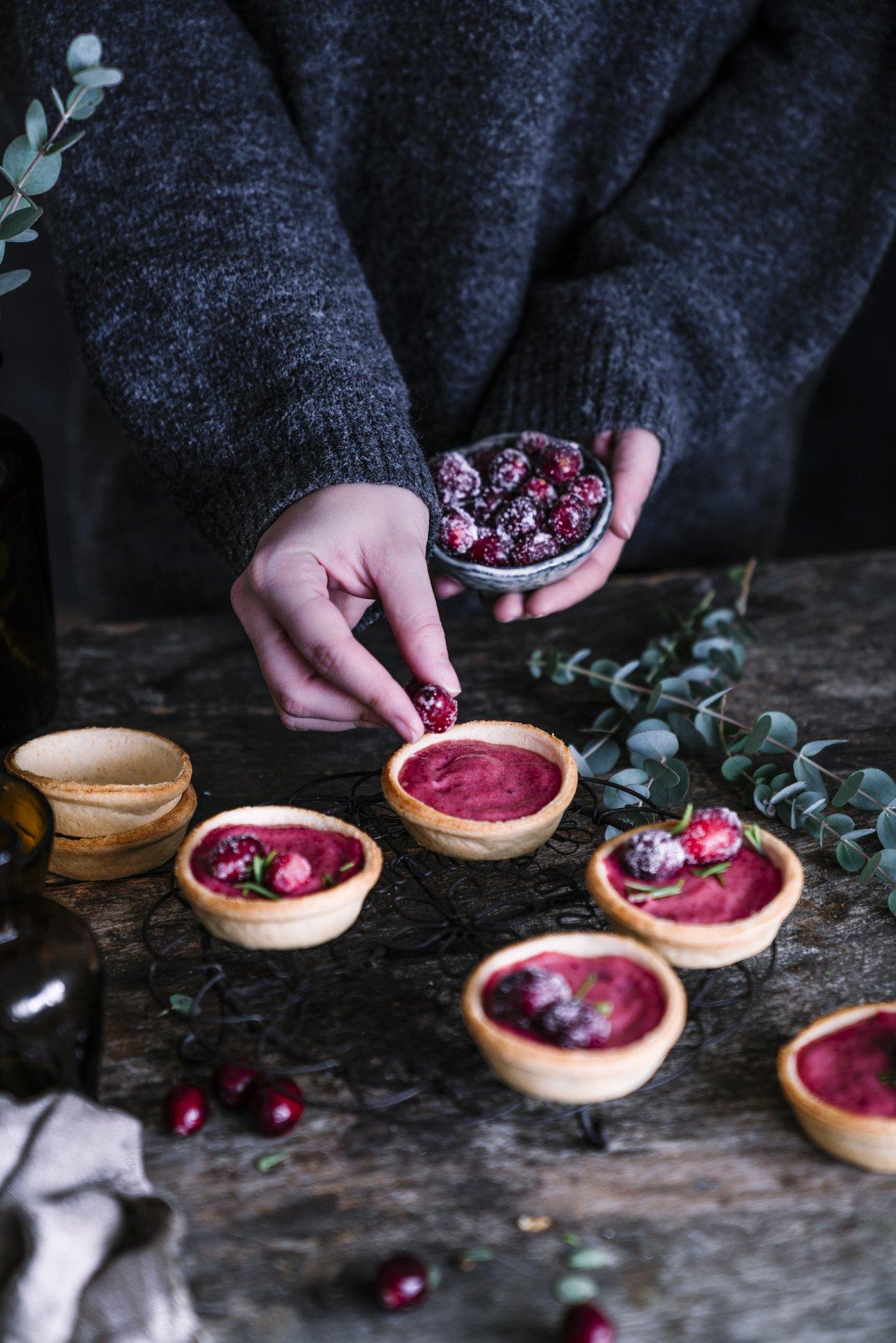 Thanksgiving Cranberry Curd Tartelettes