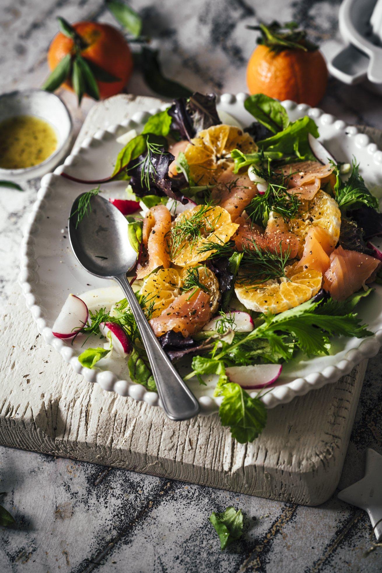 Weihnachtliche Vorspeise - Clementinen Lachs Salat