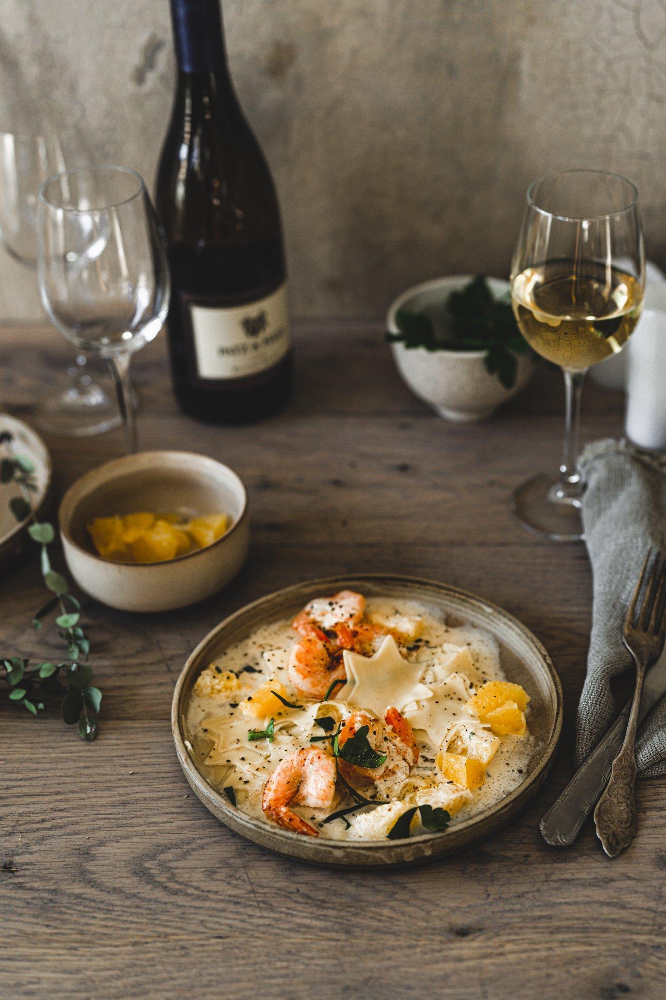 Weihnachtsmenü - Pasta mit Orangen Sauce und Scampi