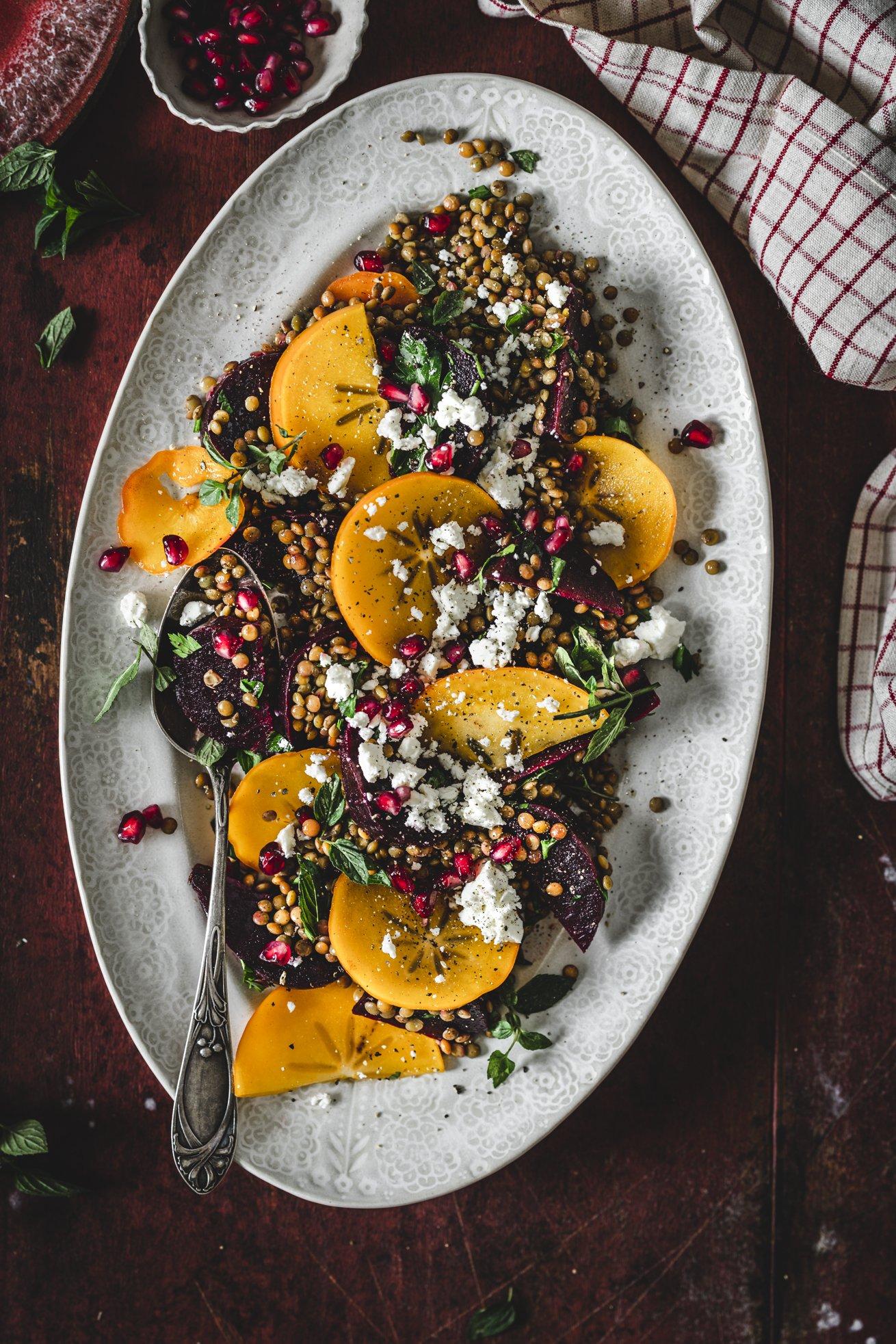 Linsen Salat mit Roter Bete und Kaki