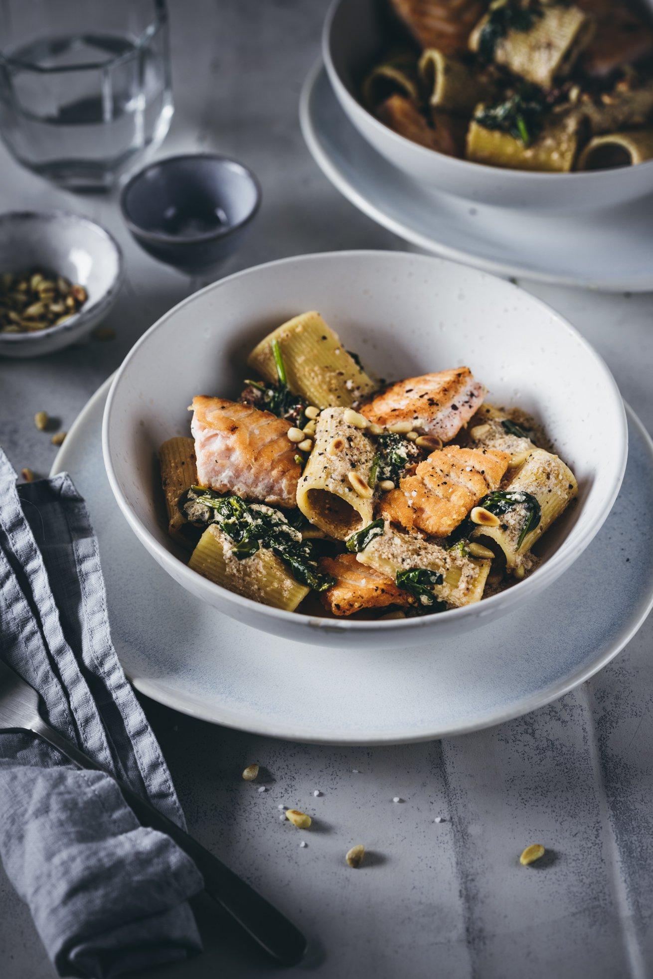 Rezept Tortiglioni mit Lachs und Spinat
