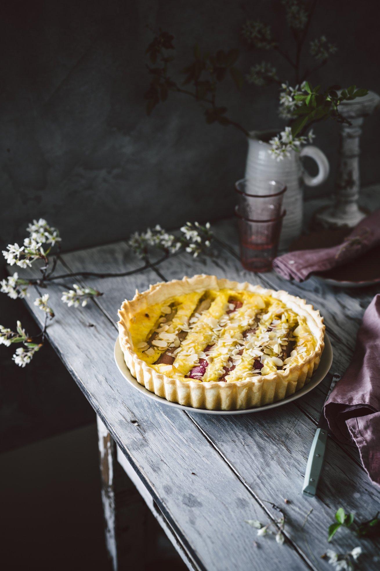 Einfaches Rezept Rhabarberkuchen mit Pudding
