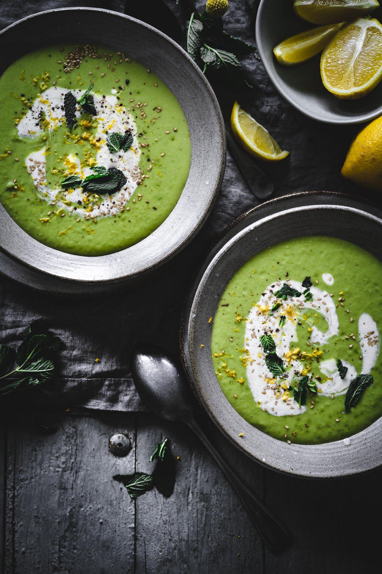 Zitronige Erbsen Suppe