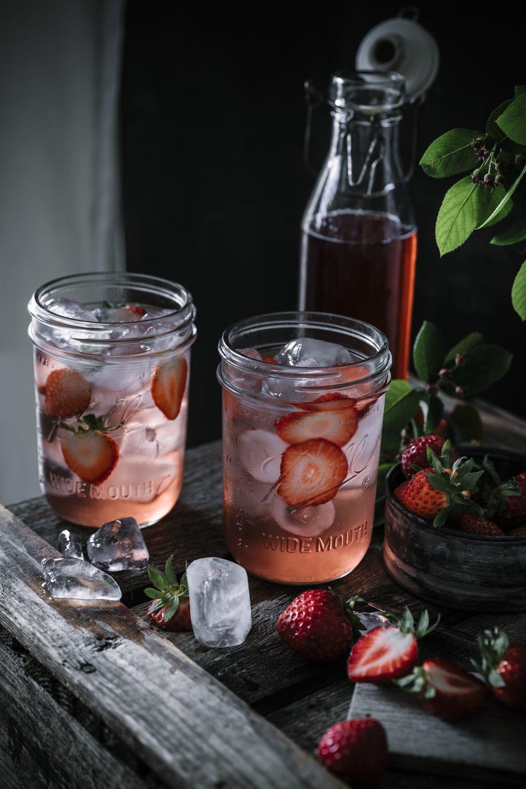Erdbeer Sirup mit Minze