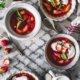 Rhabarber Grütze mit Erdbeeren