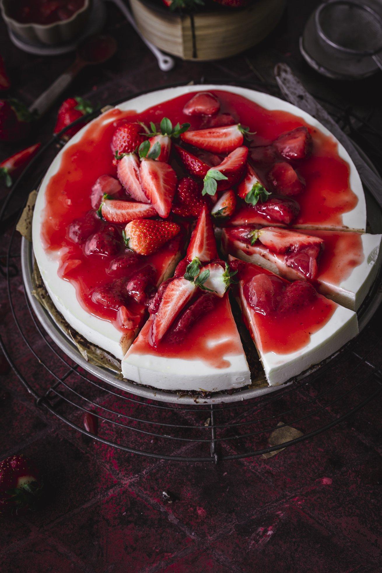 No Bake Erdbeer Sauerrahm Kuchen