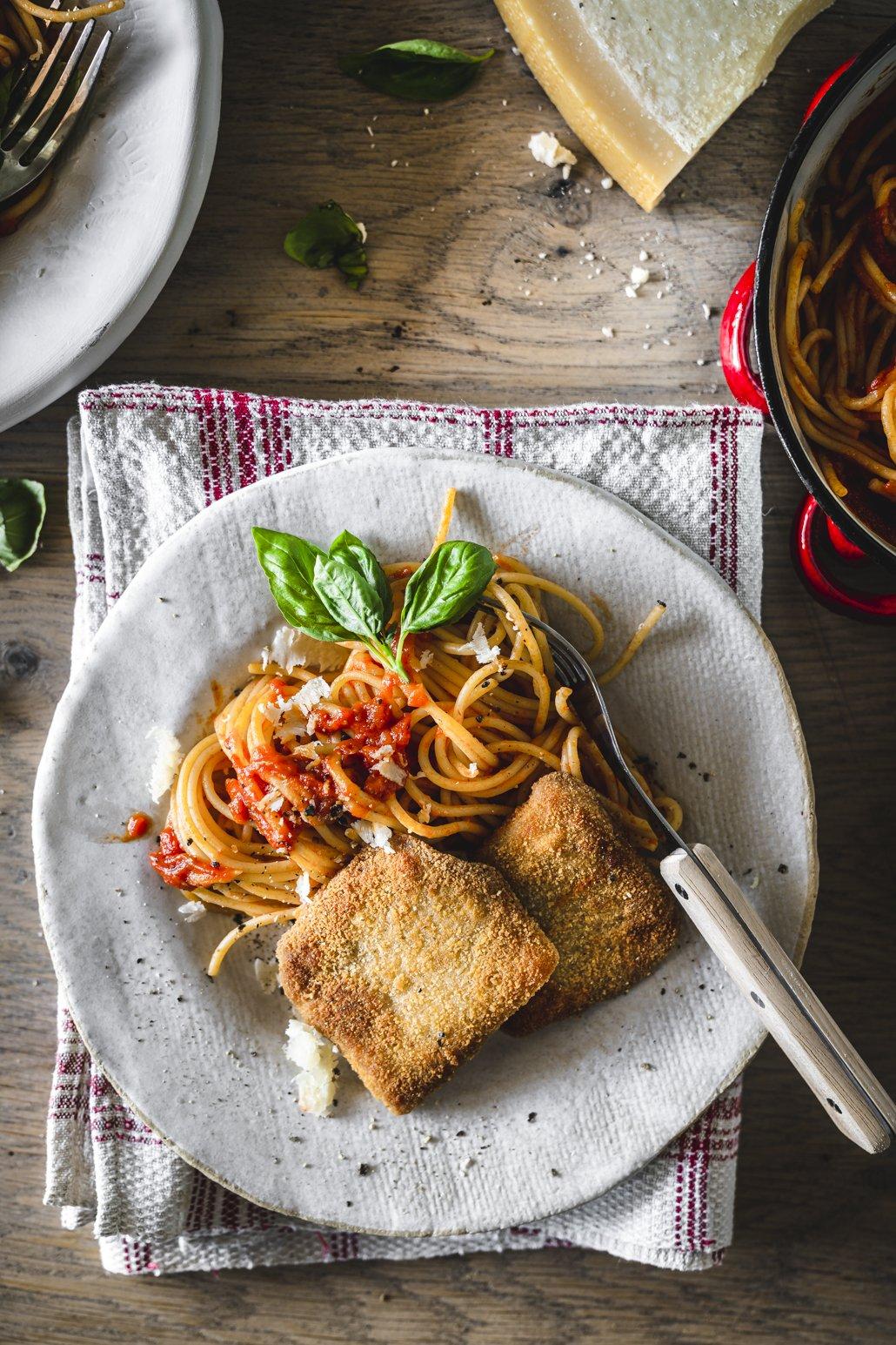 Kalbsschnitzel mit Spaghetti