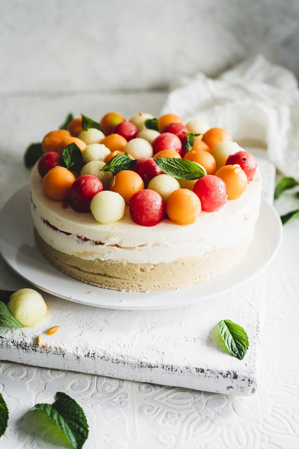 Erfrischende Melonen Torte