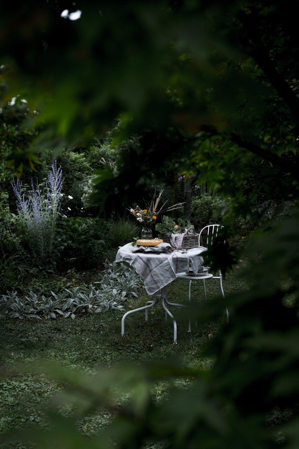 Tisch im Garten mit Kuchen